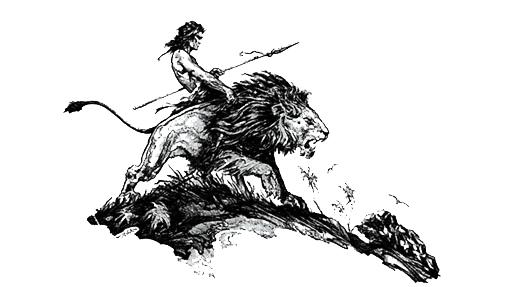 Tarzan riding a lion