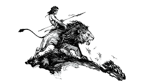 Tarzan riding a lion